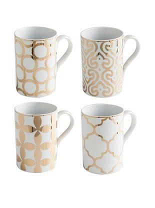 41% OFF Rosanna Set of 4 Assorted Luxe Moderne 11-Oz. Mugs