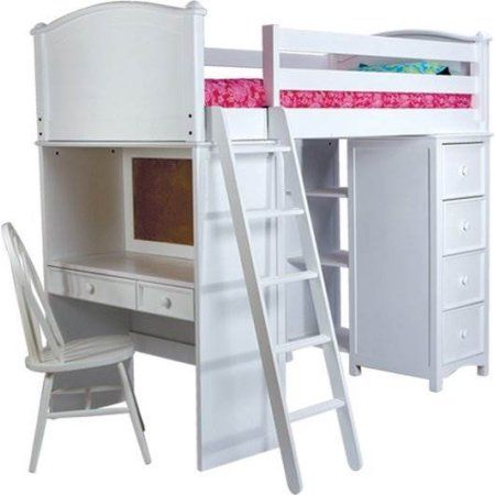 Cooley Storage Twin Loft Bed in White (White)