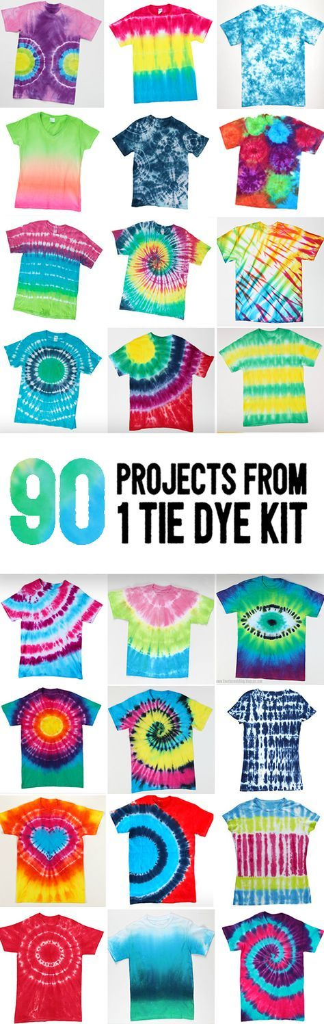 Make up to 90 shirts with this epic tie dye kit filled to max with Tulip One-Step Tie Dye, aprons, gloves, rubber bands, and instruction guide.  Make all these tie dye patterns and techniques for shirts, totes, tanks, shoes, and more.