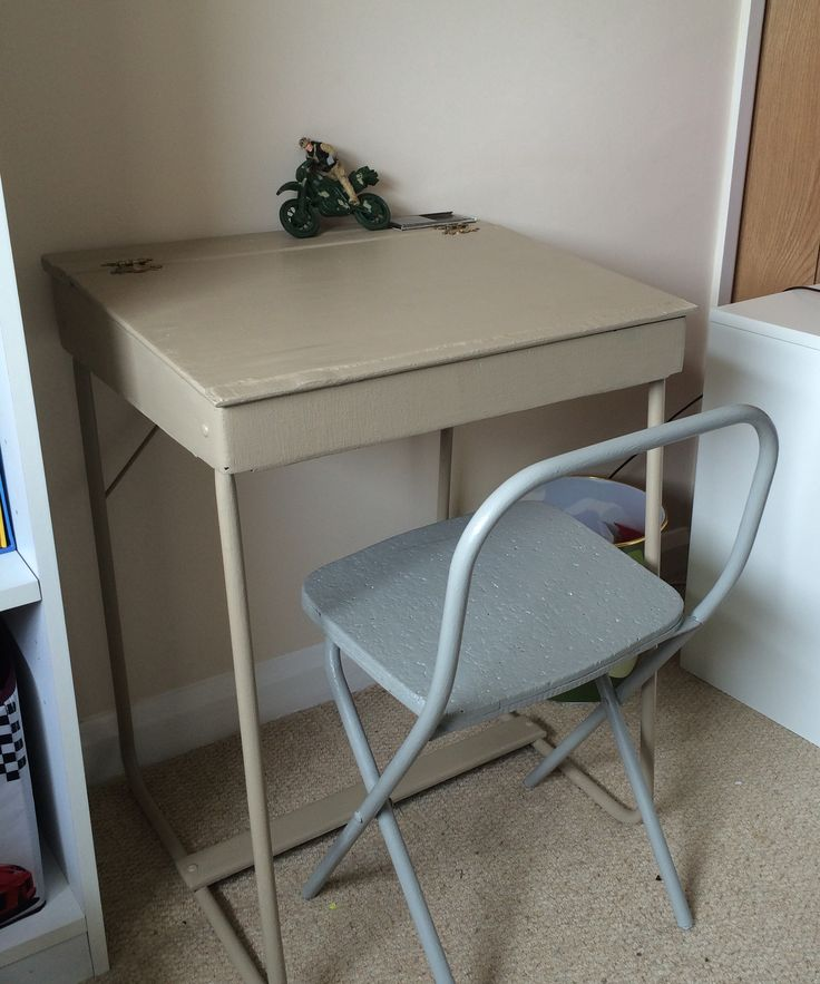 UpCycled old school desk & chair. Painted in Annie Sloan chalk paints to go with a boys army themed bedroom.