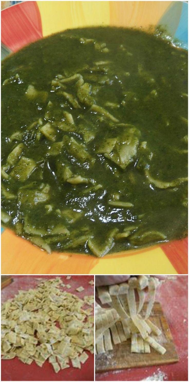 Zuppa di cicoria con quadrucci di pasta all'uovo !  #zuppe #cicoria #ricettegustose
