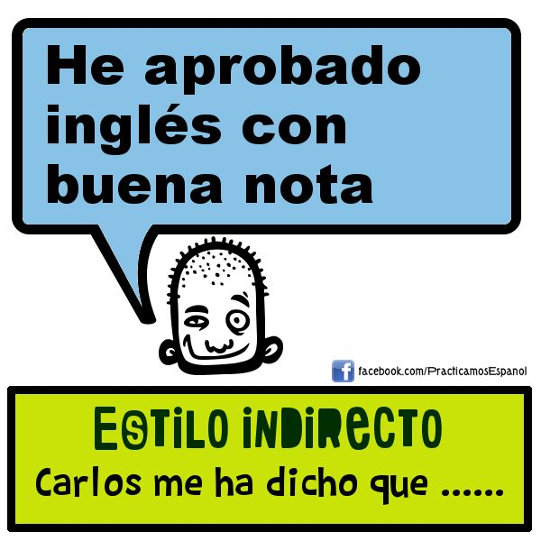 Completa la frase en estilo indirecto. Más actividades en www.fb.com/practicamosespanol
