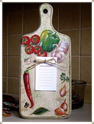 decoupage -----  cutting board------------- deska do krojenia -------  OWOCE MOJEJ WYOBRAŹNI: Deseczka decoupage z listą zakupów :-)