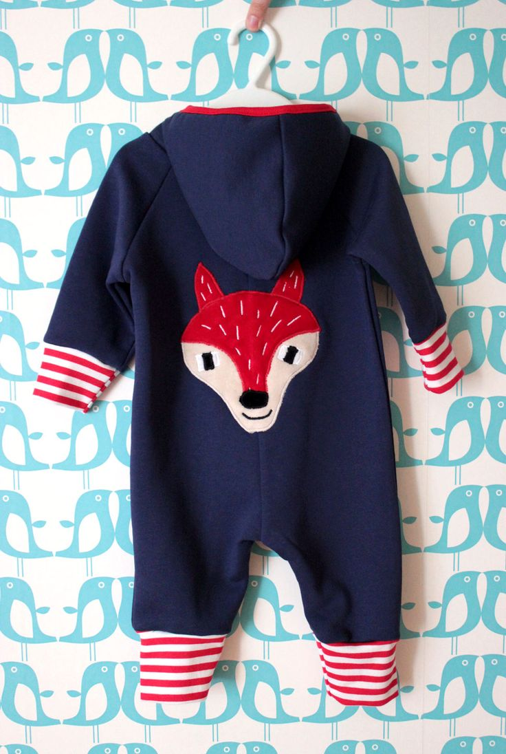 Hippu. Handmade blue coverall for a boy. Fox in back.