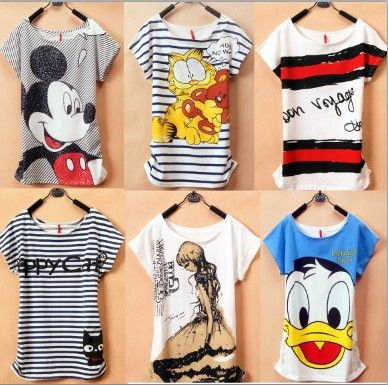 2014 New Mickey Mouse T Shirt Women tees  women type T-shirts Short SleeveFree Shipping Women's Printed T Shirts $5.59