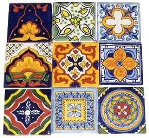 """9 Hand Painted Talavera Mexican Tiles 4""""x4"""" Spanish Influence $15 from Amazon.com"""