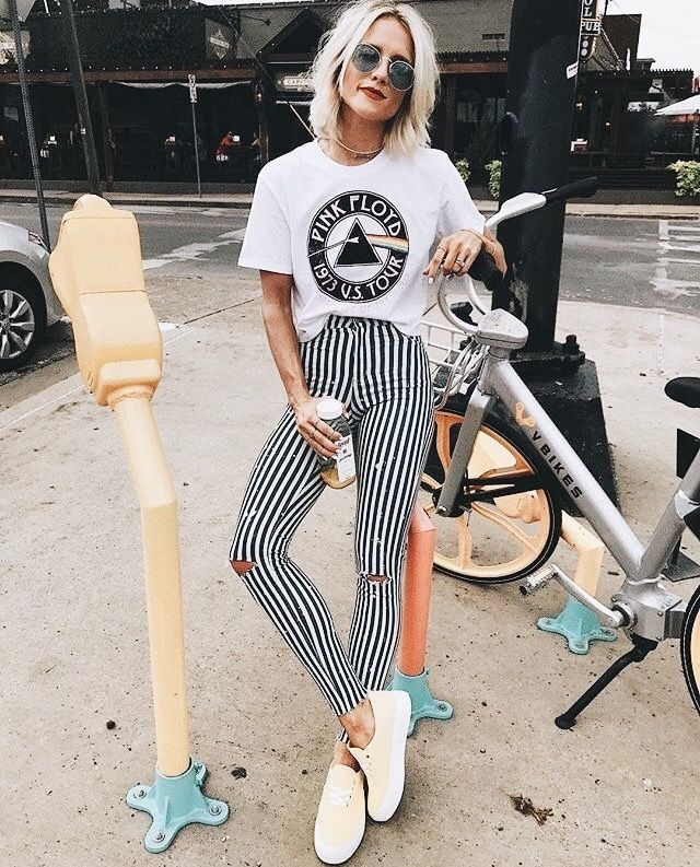 Pink Floyd Graphic Tee | Black and White Fashion | Striped High-Waisted Pants | Sunglasses