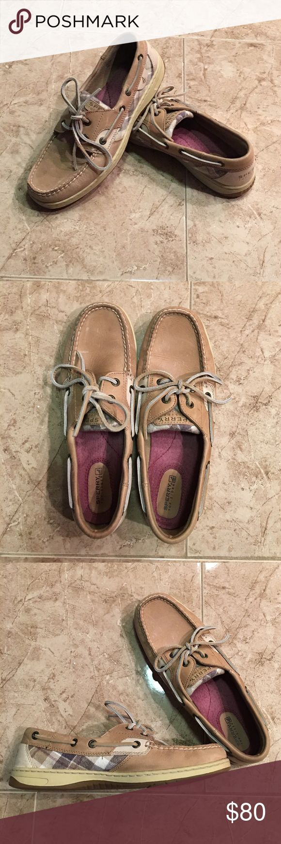 Sperry Boat Shoes! Excellent condition!!! Sperry boat shoes! Cute plaid pattern on the side ! Only worn on vacation, 3 times if that! Great addition to your closet! Leather upper! Sperry Top-Sider Shoes Sandals