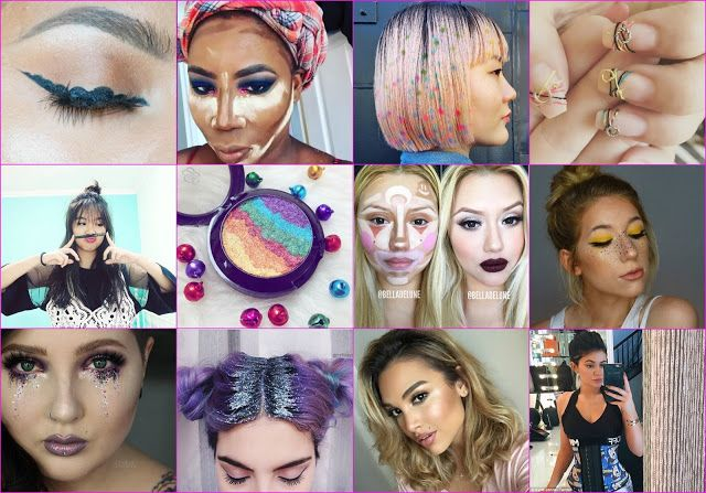 #Instagram #2016beautytrends all in a quirky #collage!  #baking, #spacebuns, #glitterroots, #hairstenciling, #clowncontouring, #unicornhighlighter, #Koreanmanicure