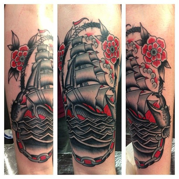 Color Tattoo By Matt From Black Sails Tattoo: 17 Best Ideas About Traditional Ship Tattoo On Pinterest
