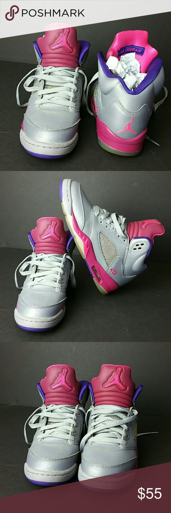 AIR JORDAN RETRO 5 YOUTH SHOES VERY CLEAN INSIDE-OUT   YOUTH SIZE 4Y BIG KIDS   MISSING INSOLE   SKE # VP Air Jordan Shoes Sneakers