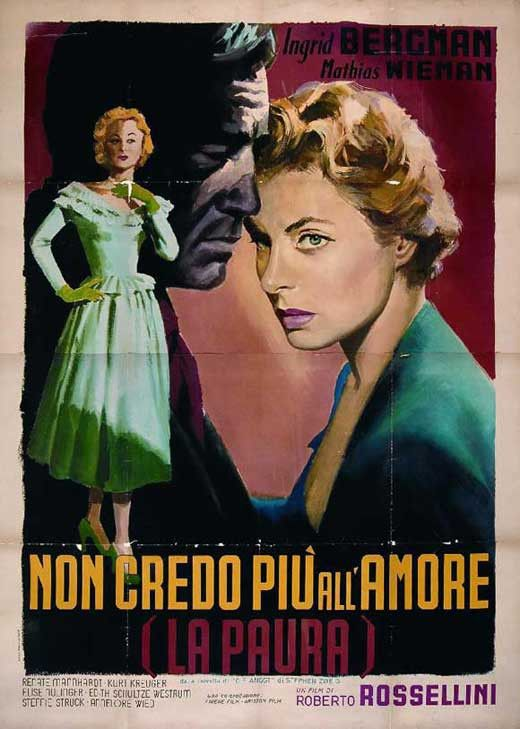 Fear (1954) Irene Wagner, the wife of prominent scientist Albert Wagner, finds herself blackmailed about her affair by her lover's jealous ex-girlfriend. The plot, an experiment in causing fear, drive