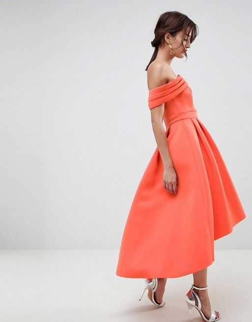 5db346f5a0fa DESIGN Bardot Cold Shoulder Dip Back Midi Prom Dress