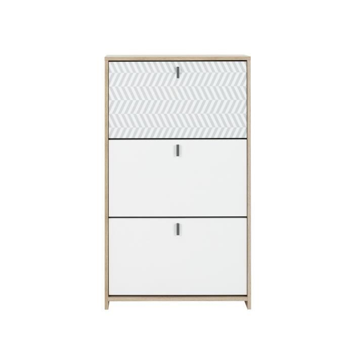 Janeiro Meuble A Chassures Style Scandinave Made In France Decor Chene Et Blanc L 68 X P 30 X H 116 Cm Meuble Meuble A Chaussure Blanc Et Mobilier De Salon