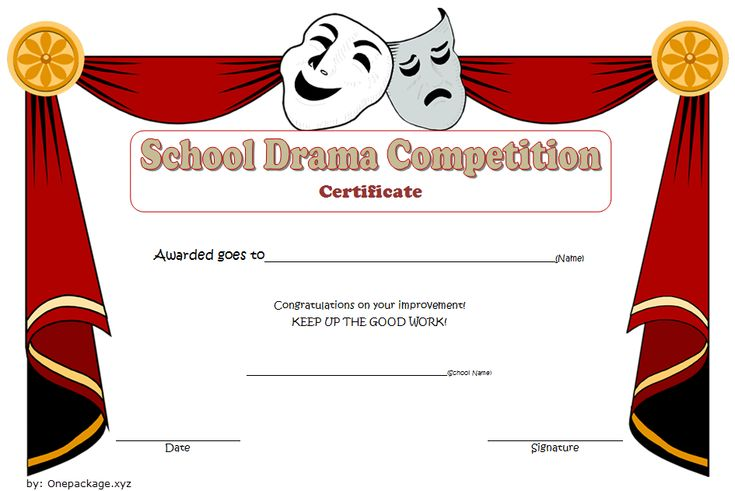 Drama competition certificate template free 2