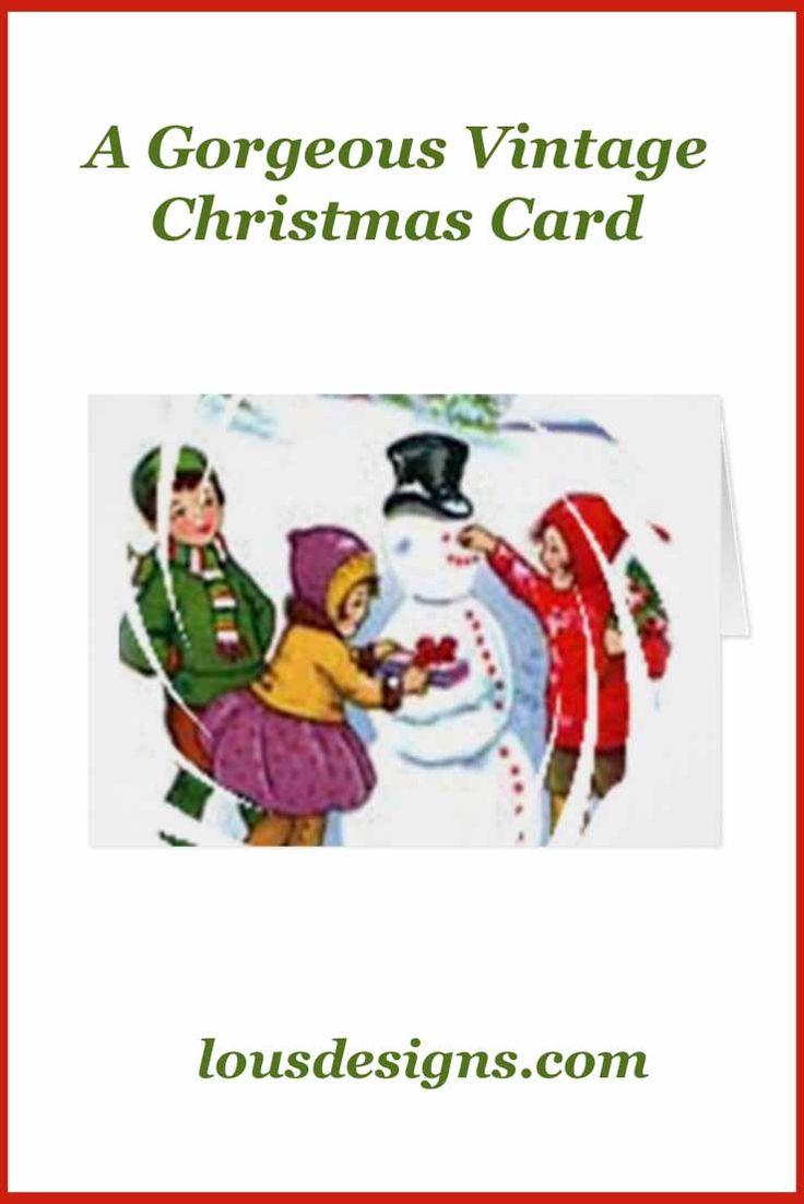 Gorgeous vintage winter snowman Christmas card