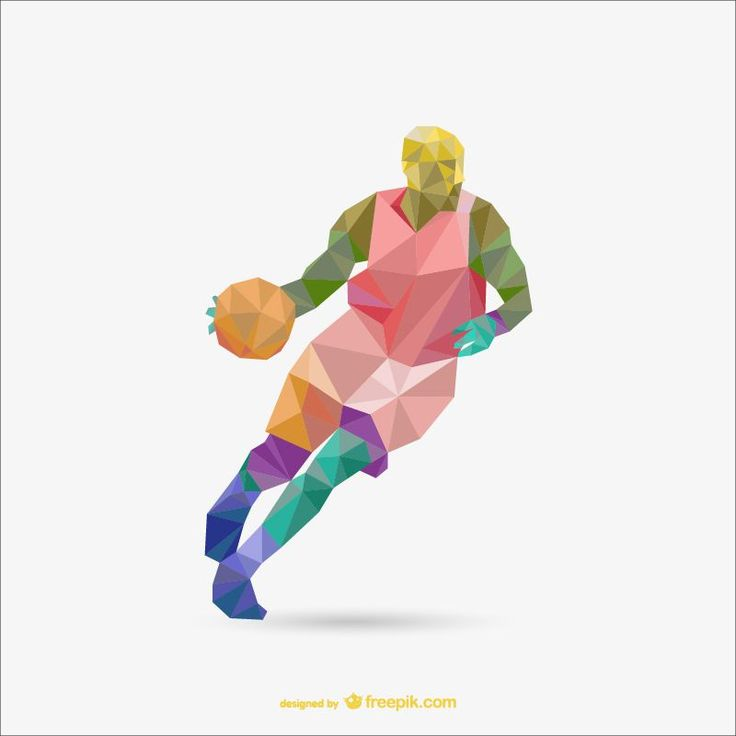Basketball Colorful Low Poly Sport Templates AI u0026