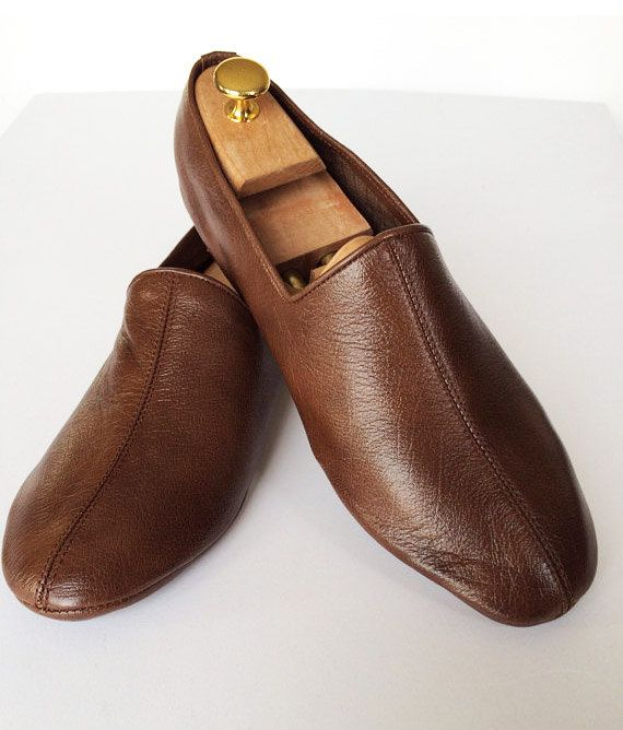 Hazelnut brown-leather slippers-soft comfy