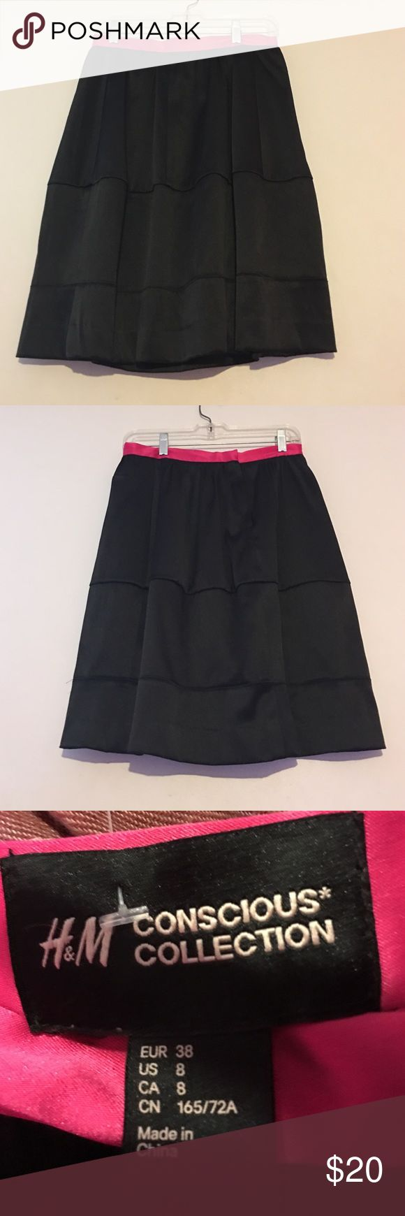 1 DAY SALE H&M conscious collection shirt size 8 Black and pink shirt, gorgeous skirt H&M Skirts