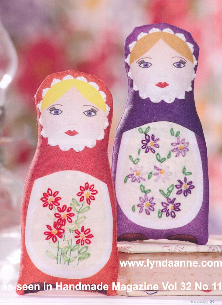 Set of 6 - Babushka Doll fabric panel, all are different colours. Two appeared as a project in Handmade magazine Vol 32 no 11 - the embroidery pattern on the apron is not printed onto the panel, but is available via the magazine. #embroidery #babushka www.lyndaanne.com