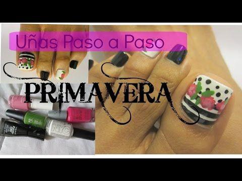 Primavera Decoración de uñas de los Pies facil y rápido /spring Easy toe nail art - YouTube