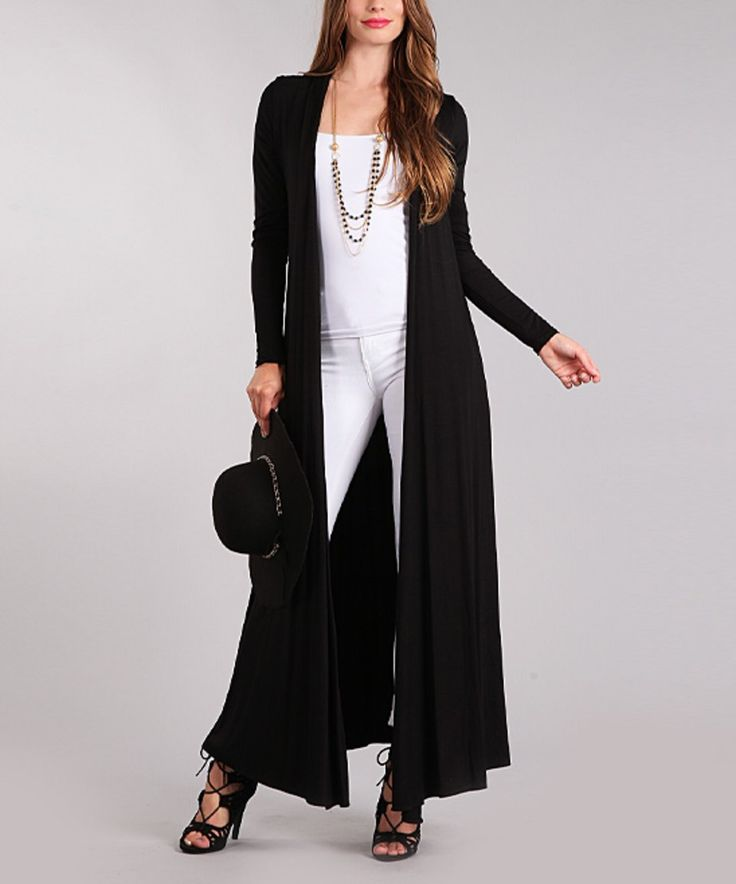 Take A Look At This Black Full Length Open Cardigan Today