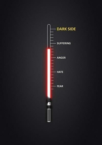 WRONG ORDER! 'Fear is the path of the dark side. Fear leads to anger, anger leads to hate, hate to suffering.