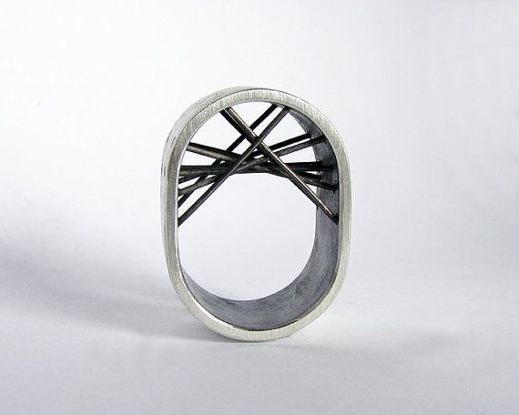 How cool is this ring? It's a Gustavo Paradiso piece, check out his work of gorgeous jewelry! This one you can find at https://www.etsy.com/pt/listing/121722906/silver-ring