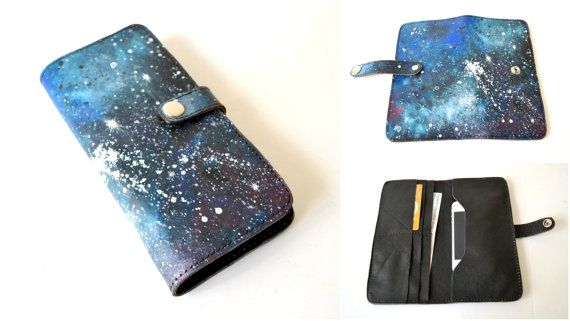 Space Painted Leather Long Wallet Leather by BarbaLeatherStudio