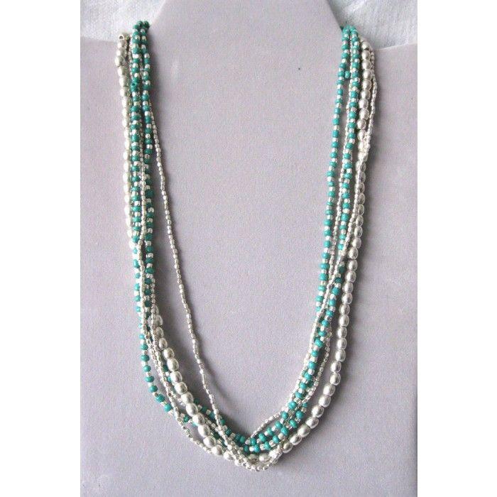 Collane in multifilo con perle in metallo #12