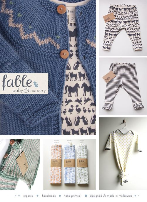 Fable baby & nursery: etsy shop with handprinted organic cotton...