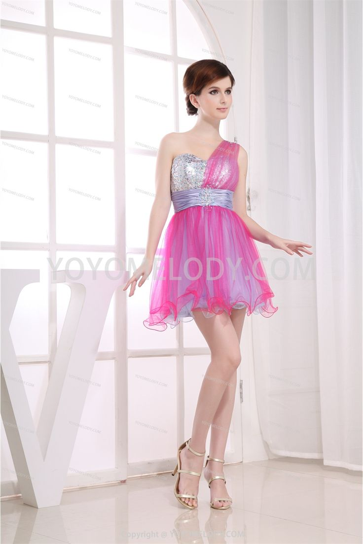 Chic&Modern Pink Silk Like Satin Short/Mini A Line Party Dress SD0801385