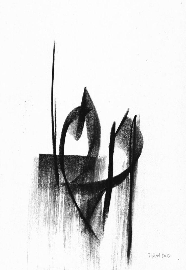 Accord-12- Toots Thielemans - Rysunek,  21x29 cm ©2015 przez Gipéhel -                                                            Sztuka abstrakcyjna, Papier, Muzyka, Toots Thielemans