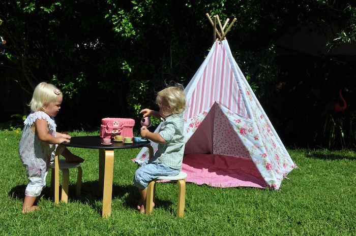 A tea party in the garden with a Mocka Girly Girl Teepee. Set this up for you and your child to enjoy all day long.