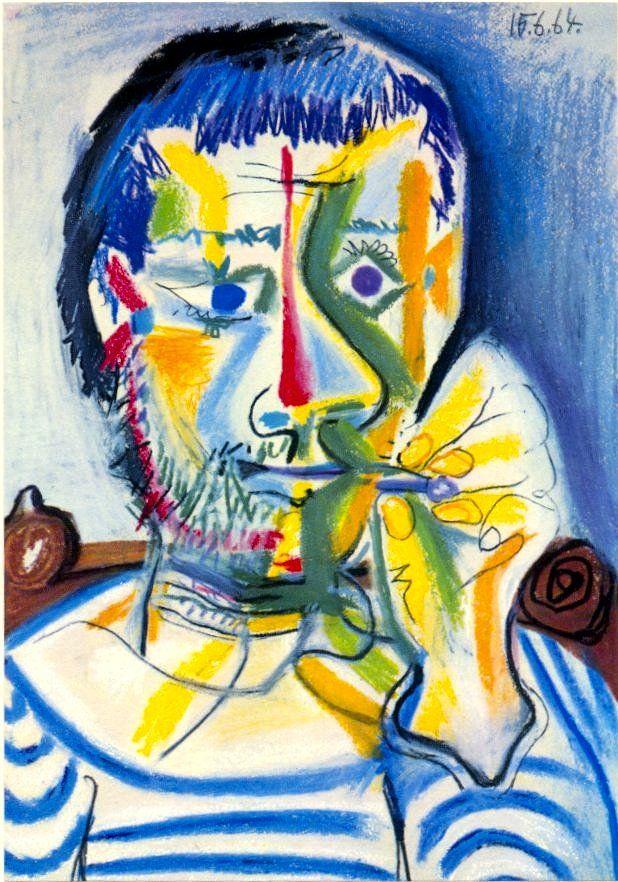 Picasso - 1962 Tête d'homme barbu à la cigarette