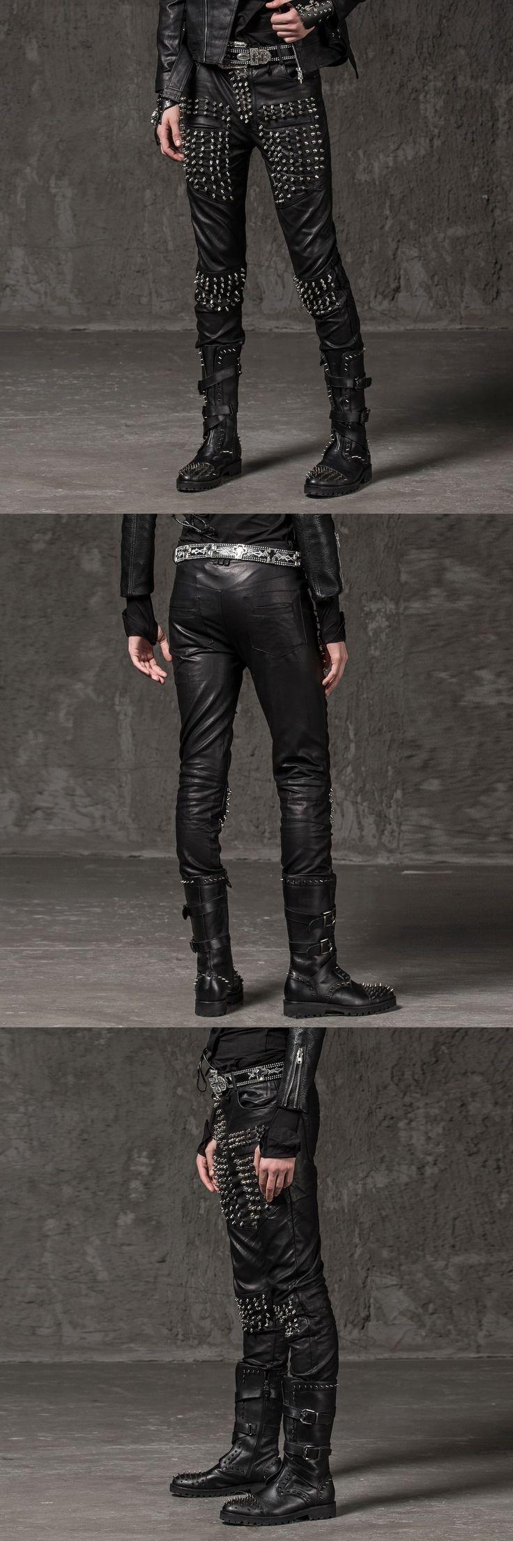 Men's Rivet Leather Pants 2017 New Fashion Brand Club Costumes Stage Wear For Singer Leather Trousers Men Black Locomotive Pants