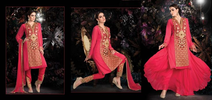 Looking Special Pink Colour Georgette Designer Dress Material