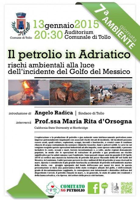 """Conferenza """"Il Petrolio in Adriatico. rischi ambientali alla luce dell'incidente del Golfo del Messico. 7° Giornata dell'ambiente. Comune di Tollo - Sito Ufficiale del Comune di Tollo (CH)"""