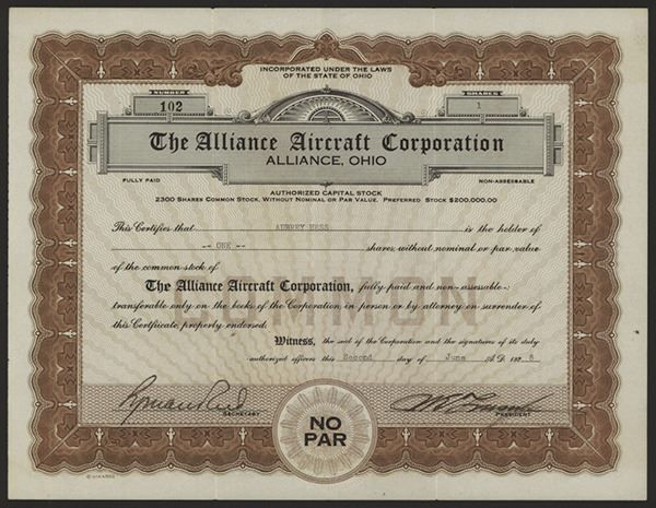 Alliance Aircraft Corp., 1928 Issued Stock - Archives International Auctions