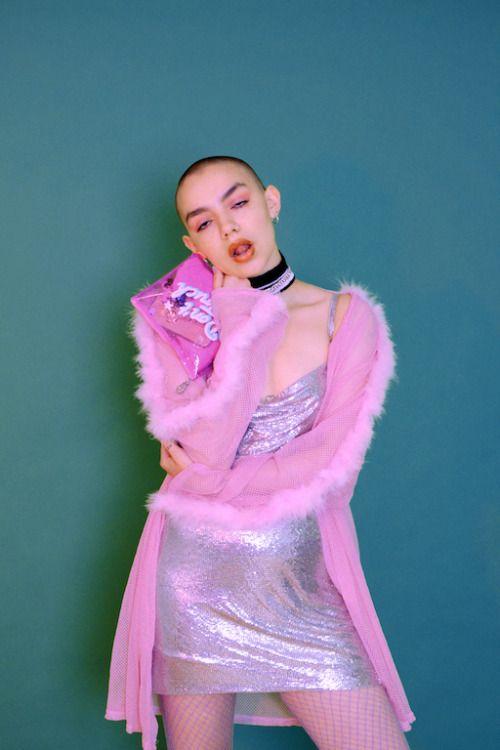 "ssalacia:  ""Pink Rock for Sister Magazine  Photography: Iliana K  Styling: Hannah Grunden  Makeup: Phoebe Taylor  Model: Hazel  """
