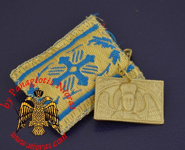 Amulet - Pendant Rectangular with Metal Icon of Archangel Mantamados