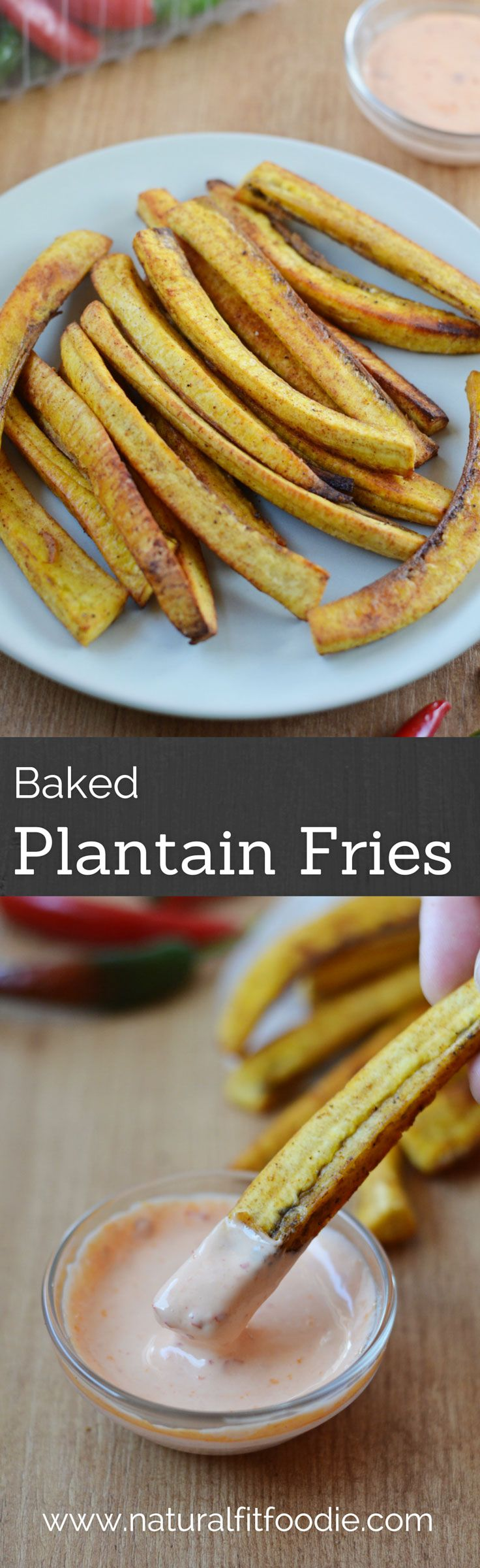 These baked plantain fries are oven fried to crisp perfection. Enjoy as an appetizer or side dish.