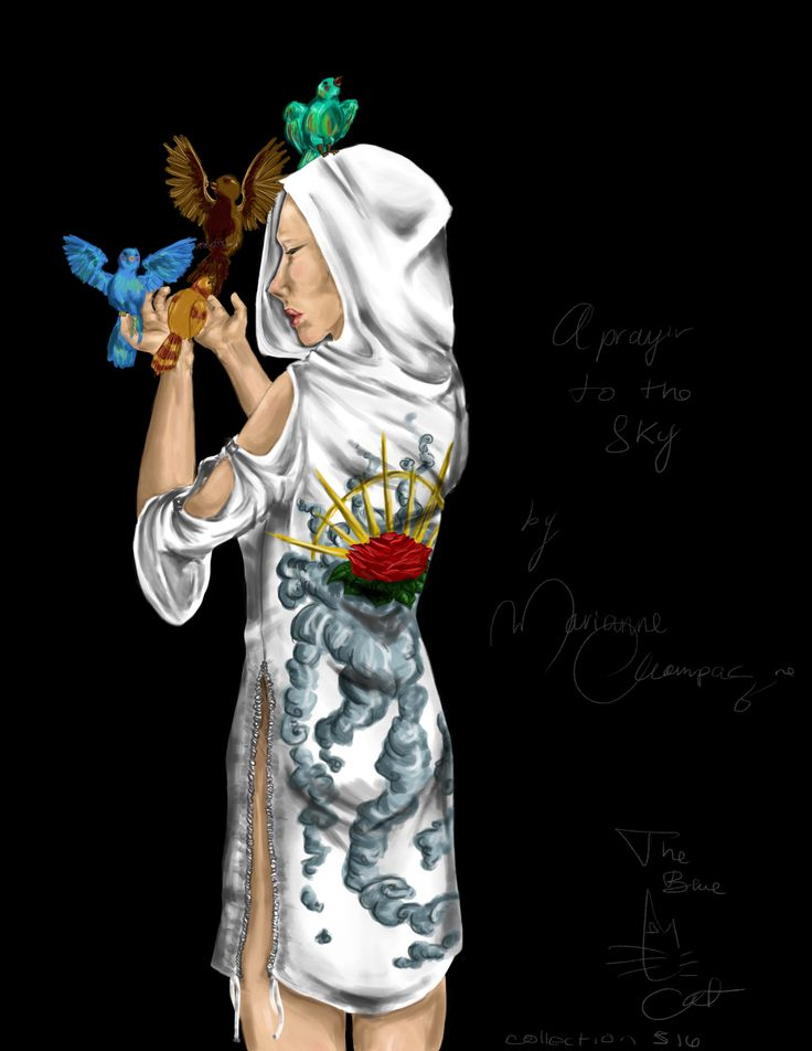 My inspiration for the three first dresses in my collection A Prayer to The Sky (I drew it btw, it was not randomly picked on the internet XD)  Come see my art on deviantart! I'll try to upload more drawings/digital painting this summer!