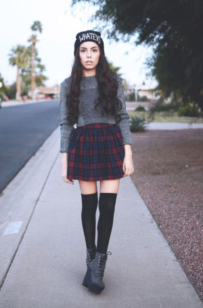 Plaid skirt + thigh high socks + sweater + beanie