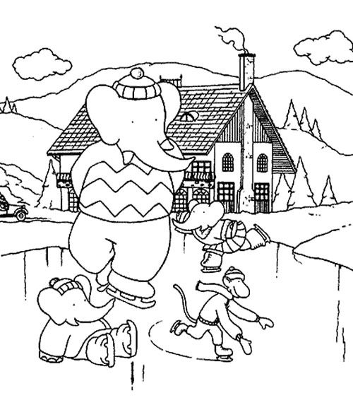 Ice Skating Animal Coloring Page