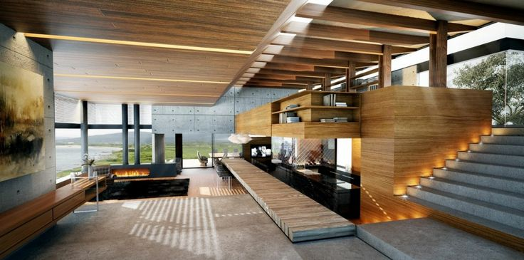 Modern Wood And Concrete Interior Living Rooms With Wonderful Views