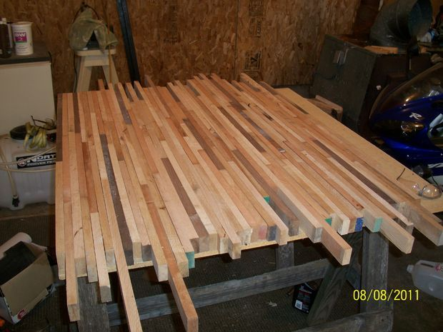 Thinking I could rip the hardwood flooring that is in MFK pantry room and make the counter top for our island. Butcher Block DIY