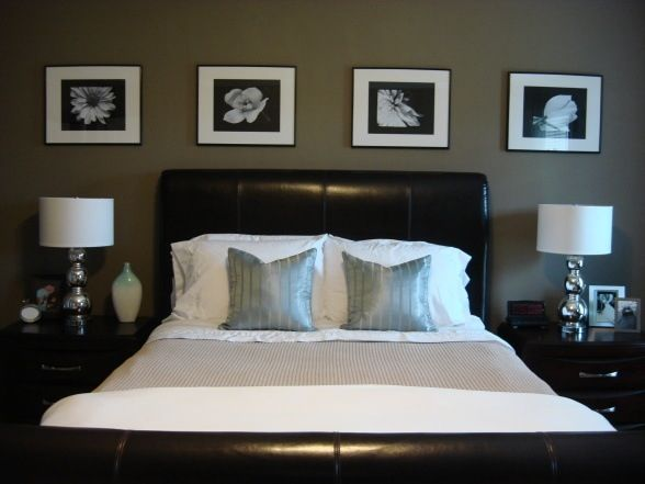 Put black and white wedding pics above bed