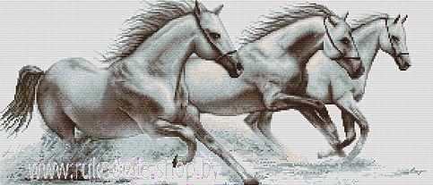 Набор для вышивки крестом Luca-S Белые лошади В495