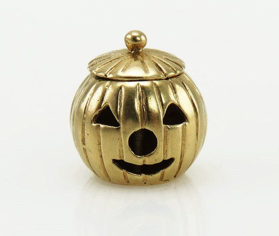 Quality Gold Enameled Jack O Lantern Charm Sterling Silver